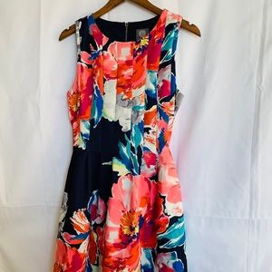 Vince Camuto Floral Sleeveless Swing Dress